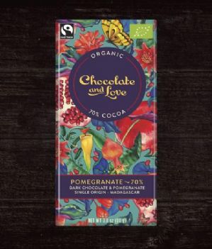 Chocolate & Love 70% Dark Chocolate & Pomegranate 100g